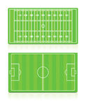 Sport Fields set with grass Royalty Free Stock Photo