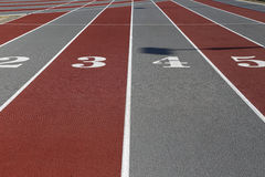 Sport filed lines. Run race track in sport stadium Royalty Free Stock Images