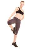 sport fille blonde sportive de forme physique étirant la jambe i Photographie stock libre de droits