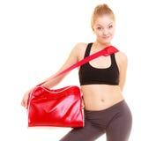 sport Fille sportive de forme physique dans les vêtements de sport avec le sac de gymnase Image stock