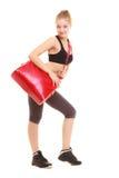 sport Fille sportive de forme physique dans les vêtements de sport avec le sac de gymnase Images stock