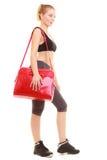 sport Fille sportive de forme physique dans les vêtements de sport avec le sac de gymnase photos stock