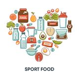 Sport and fintess healthy food nutrition vector heart poster of dietary icons. Sport and fitness healthy food for sport lifestyle and dietary nutrition. Vector Stock Photos