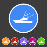Sport fish boat yacht icon flat web sign symbol logo label. Set Royalty Free Stock Photos