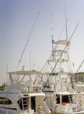 Sport fishing boats in a marina. Sport fishing pleasure boats moored up in a private marina Stock Images
