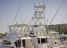 Sport fishing boats in a marina Royalty Free Stock Images