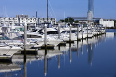 Sport Fishing Boats and Yacht in a Marina Stock Images