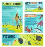 Sport fishing banner with fisherman and fish catch. Sport fishing cartoon banner template for fisherman club or fishing tournament design. Fisherman on lake bank Stock Images