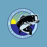 Sport fishing club logo design stock illustration