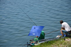 Sport fishing of the lake Modrac Stock Images