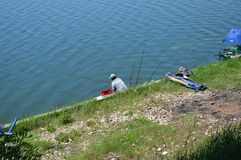 Sport fishing of the lake Modrac Royalty Free Stock Photo