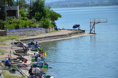 Sport fishing of the lake Modrac Royalty Free Stock Image