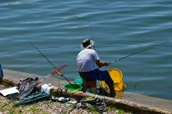 Sport fishing of the lake Modrac Royalty Free Stock Photo