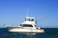 Sport Fishing Lake Ontario - Charter Boat Top Gun. Fishermen on a charter fishing boat, Top Gun, looking for salmon and lake trout on Lake Ontario royalty free stock photography