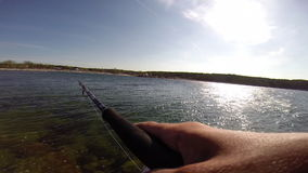Sport fishing for trout in the Baltic sea. Sport fishing for trout in sweden stock video