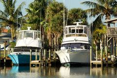 Sport fishing yachts Stock Photography
