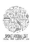 Sport fit doodle illustration circle form line sketch style eps1 Royalty Free Stock Images