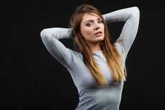 Sport fit woman in thermal clothes. Royalty Free Stock Photo