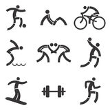 Sport fitness black icons Stock Photos