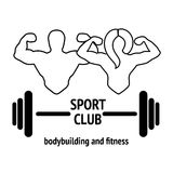 Sport or fitness club emblem. Abstract graphic illustration with silhouettes of man with barbell and woman with dumbbell as a design for logo, banner or poster Stock Images