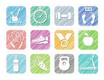 Sport and fitness, colorful icons, vector, hatched. Royalty Free Stock Photography