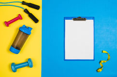 Sport and fitness colourful concept background, top view lay flat Royalty Free Stock Photo