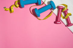 Sport and fitness colourful concept background, top view lay flat Stock Images