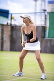 Sport and Fitness Concept: Sexy Caucasian Tennis Player Outdoors Stock Images