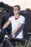 Sport and Fitness Concepts. Caucasian Male Cyclist With MTB Bike Royalty Free Stock Images