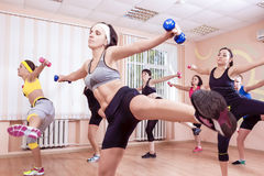 Sport and Fitness Concepts. Group of Young Ladies Having Fitness Stock Photo