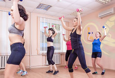 Sport and Fitness Concepts. Group of Young Ladies Having Fitness Stock Image