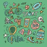 Sport and fitness doodle elements