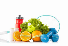 Sport and fitness equipment with eco food. Diet and healthy lifestyle. Stock Photo
