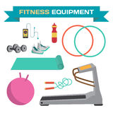 Sport and fitness equipment. The treadmill, yoga mat. Jump rope, dumbbells, hoop. Flat cartoon isolated vector illustration Stock Image