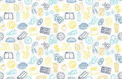 Sport, fitness, functional training background seamless doodle icons style pattern. Vector illustration blue, orange, yellow thin line Sport, fitness, functional vector illustration