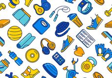 Sport, fitness, functional training background seamless doodle icons style pattern. Vector illustration blue, orange, yellow thin line Sport, fitness, functional royalty free illustration