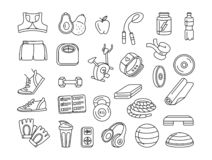 Sport, fitness, functional training thin line doodle icons. Vector illustration Black and white thin line Sport, fitness, functional training hand drawn doodle vector illustration