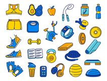 Sport, fitness, functional training thin line doodle icons. Vector illustration blue, orange, yellow thin line Sport, fitness, functional training hand drawn stock illustration