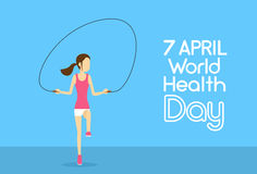 Sport Fitness Girl Jump Skipping Rope Physical Training World Health Day 7 April Holiday Stock Photo