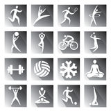 Sport and fitness grey icons. Royalty Free Stock Photos