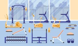 Sport fitness gym interior workout equipment royalty free illustration