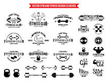 Sport and Fitness Gym Label Templates and Design Elements Stock Image