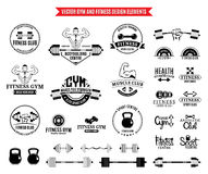 Sport and Fitness Gym Label Templates and Design Elements Royalty Free Stock Image