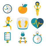 Sport Fitness and Health isolated icons set modern trendy flat vector illustration Stock Image