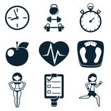 Sport Fitness and Health isolated icons set Stock Images