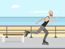 Young man riding on a skate in the city street. Sport, fitness, health, lifestyle and people concept illustration vector Stock Images