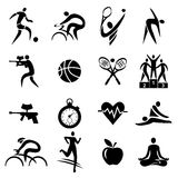 Sport fitness healthy lifestyle icons. Black Icons with sport,  fitness and healthy lifestyle activities. Vector illustration Stock Images