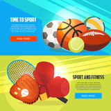 Sport and fitness horizontal banners. Football, basketball, boxing, tennis, baseball, rugby, volleyball vector illustration. Creative sport games concept Royalty Free Stock Image