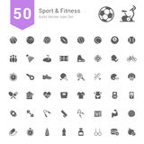 Sport and Fitness Icon Set. 50 Solid Vector Icons. Royalty Free Stock Photography
