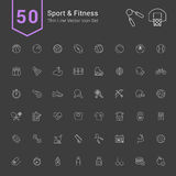 Sport & Fitness Icon Set. 50 Thin Line Vector Icons. Sport & Fitness Icon Set. 50 Thin Line Vector Icons illustration vector illustration